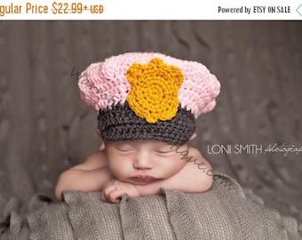 SUMMER SALE Police Officer Hat - Crochet Baby Newborn NB Beanie Cap Thanksgiving Costume Halloween Christmas