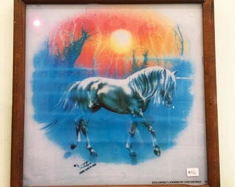 Vintage Unicorn in the sunset Wall Decor