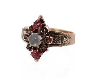 antique rose gold victorian ring with moonstone and garnet, c. 1870