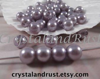 8mm --- Medium Gray Faux Loose Pearls --- 100 pieces