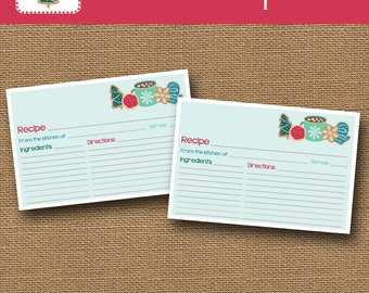 Cookie Exchange Recipe Cards | Christmas Cookie Recipe Cards | Instant Download Holiday Recipe | Print Now Cookbook Cards | DIY PRINTABLE