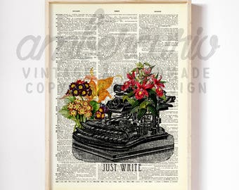 Just Write Beautiful Pink Vintage Typewriter Flowers Collage Author Inspired Print on an Unframed Upcycled Bookpage