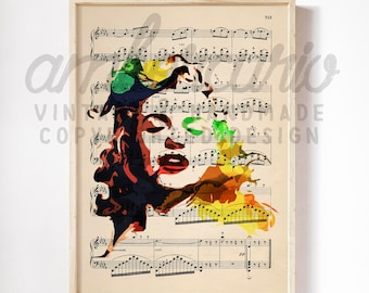 Norma Jean and Marilyn Monroe Originally Drawn Watercolor Artwork Print on Unframed Upcycled Bookpage