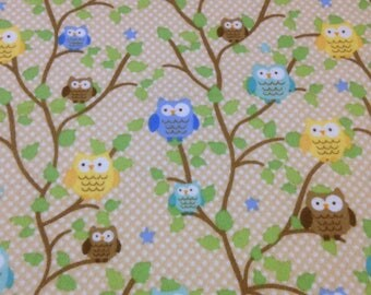 Owl tree branches beige Flannel fabric, top quality blue yellow owls,polka dots, quilting, crafts, sewing, owls, by the yard
