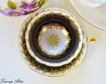 Shelley Black Teacup And Saucer Set With Snowflake Center, English Bone China Tea Cup, Wedding Gift, ca. 1945-1966
