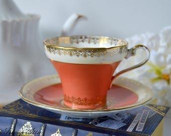 Aynsley Orange And Gold Corset Teacup and Saucer, English Bone China Tea cup Set, Tea Party, ca. 1934-1939