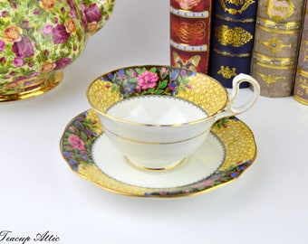 Aynsley Yellow And Black Vintage Teacup and Saucer Set, English Bone China Tea Cup,  Replacement China, ca. 1934