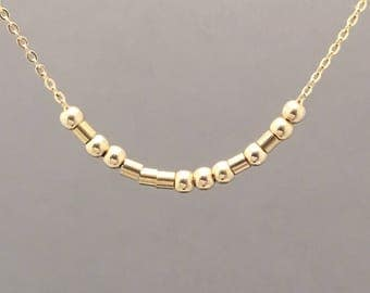 Custom FINE CHAIN Small Bar Gold Fill Morse Code Necklace also in Sterling Silver and Rose Gold