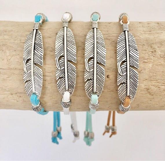 feather bracelet, bohemian jewelry, boho style faux suede bracelet, beach gypsy jewelry