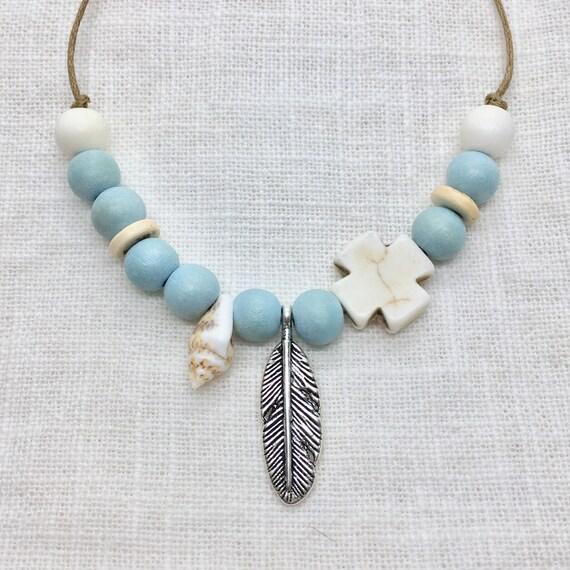boho jewelry, bobemian beaded necklace, beachcomber beach jewelry