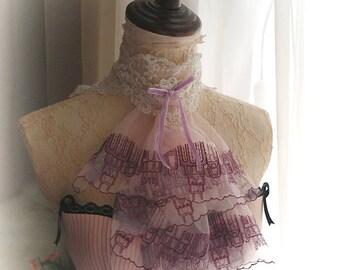 Victorian Marie Antoinette Romantic Ruffles Lace Collar Motif Jabot lavender purple velvet bow  ivory lace high collar vampire Goth Gothic