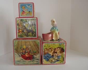 Set of Four Lungers Hausen Children's Blocks,Unmarked, Vintage Nursery Decor, Photo Prop, Circa 1940's