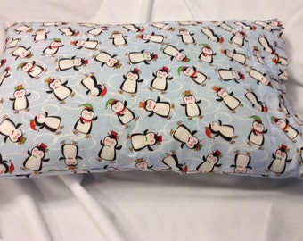Hand made light blue with penguin Christmas fabric pillow case with box-pleat for toddler - in X'mas paper bag.