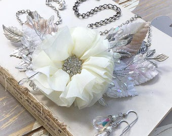 IN BLOOM antique silver mixed media fabric, metal, crystal statement necklace with pearl and crystal earrings, OOAK