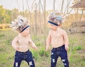 Boy's Indian Headdress, Little Chief Infant/toddler boys Headdress, Indian Party, Wild One, Indian Costume, Feather Headdress.