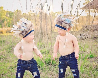 Boy's Indian Headdress - Little Chief Infant/toddler boys Headdress - Indian Party - Wild One - Indian Costume - Feather Headdress.