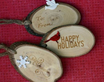 Gift tags, wood slice, wood-burned, oval package tags, Christmas, holiday, natural, red and white, brads, cardinal, set, large, snowflake