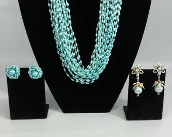 Vintage Aqua Necklace with Two Pairs of Earrings