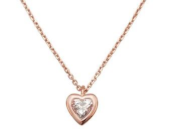 Heart Pendant - Diamond Pendant Necklace, 14K Solid Gold Necklace, Heart Pendant, Pave Pendant, Heart Diamond Necklace