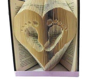 Folded Book Art, Baby Feet, Baby shower gift, footprints, paper folding, paper folded flower, Book Folding,  home decor, Nursery, baby book