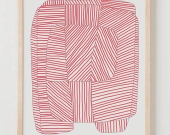 Fine Art Print.  Stripe Study Red, August 15, 2017.