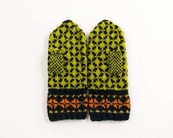 Hand Knitted Mittens - Black, Green and Orange, Size Medium