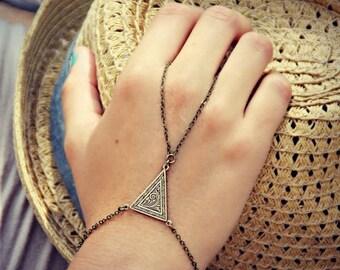 VACATION SALE triangle slave bracelet, triangle hand chain, bracelet ring, slave ring, art deco triangle, triangle bracelet