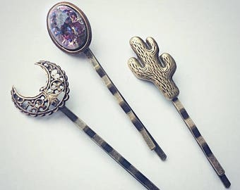 VACATION SALE cactus bobby pin set, moon bobby pin, purple opal bobby pin, moon accessory, hair accessories, moon jewelry, cactus hair pin,