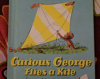 Vintage Curious George Flies a Kite by Margret Rey