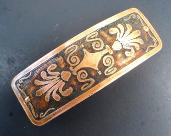 Medium Copper Hair Barrette. Hand etched artisan metal barrette in antiqued copper.