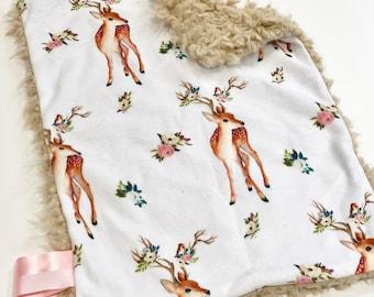 Vintage Deer Pink Baby Blanket Lovey, Baby Girl Minky Lovey, Deer Floral Minky Baby Blanket, Personalized Baby, Faux Fur Baby Blanket