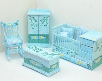 JUST DUCKY Baby Nursery Hand-Painted 1:12 Dollhouse Miniature Furniture Custom Dressed Crib Set Yellow Duck