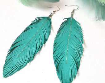 Turquoise Feather Earrings, Large Earrings, Leather Earrings, Leather Feather Earrings, Bohemian Earrings, Blue Earrings, Turquoise Earrings