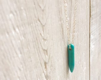Dagger Necklace - Gemstone Necklace - Layering Necklace - Dainty Necklace - Turquoise Necklace - Sterling Silver - Minimal Necklace