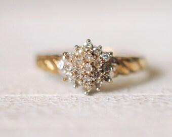 SALE! Vintage 9k yellow gold. 0.25 Carat diamond engagement wedding gold ring /boho bohemian gypsy ring.  size 7.25