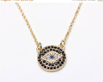 ON SALE Shinny evil eye gold necklace great for layering - simply everyday jewelry