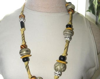 """10% OFF 80's Fun Hand Painted 26mm Pottery n Wood Beaded & Cotton 28"""" Necklace, Decorative Fun"""