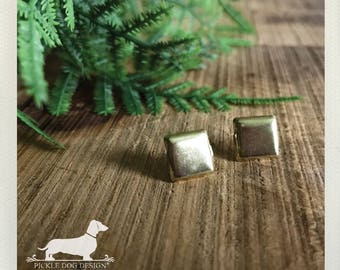 CLEARANCE! Gold Square. Post Earrings -- (Geometric, Small, Simple, Vintage-Style, Modern, Cute, Stocking Stuffer, Christmas Gift For Her)