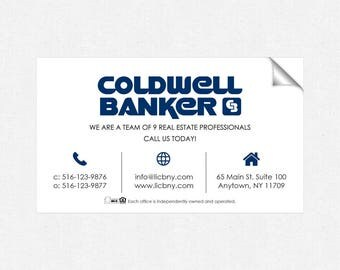 Coldwell Banker real estate deluxe glossy stickers - business card size - high end - crack and peel - FREE UPS ground shipping