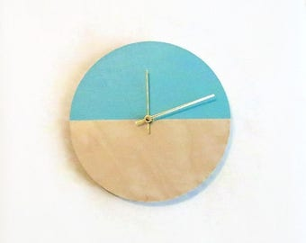 Large Wall Clock, Trending Minimalist Art, Green and Wood Clock, Housewares, Home and Living, Unique Wall  Clock