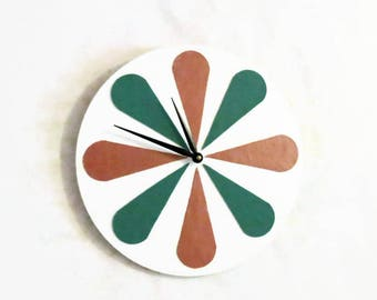 Retro Wall Clock, Pink Teal and White Home Decor, Unique Wall Clock, Home and Living, Home Decor, Leather and Wood Clock