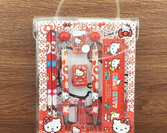 Hello Kitty stationery set, gift idea for girls, Hello kitty pen, pencil, ruler, rubber, pencil sharpener and notebook, cute stationery set