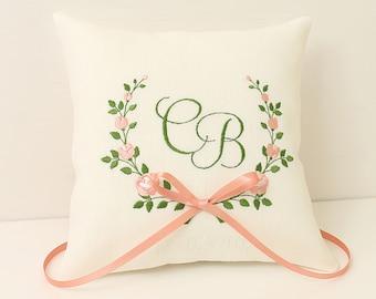 Wedding Ring pillow Floral ring pillow Personalized wedding ring pillow Coral ring pillow Monogram ring pillow Romantic wedding Rose pillow