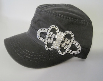 Charcoal Grey Cadet  Military Army Hat with Gorgeous All Rhinestone Accent Womens Hats Accessories Sun Hats