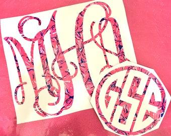 Flirty Flower Pink Navy Lilly Pulitzer Print Inspired Monogram Vinyl Decal Personalized Custom Sticker