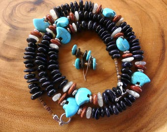 30 Inch Southwestern Zuni Style Turquoise Bear Fetish Necklace with Navy Blue Sand Stone Rondelle Beads and Earrings