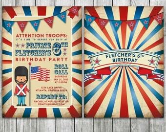 Soldier Birthday Theme, United States of America Flag Birthday Invitation, Military Birthday Party, British Soldier
