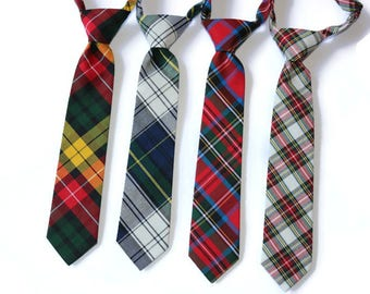 Tartan Plaid Boys Necktie~Cotton Necktie~Wedding Tie~Boys Pretied Necktie~Christmas Tie~Xmas Picture