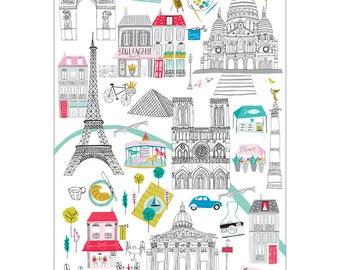 Paris Tea Towel, design led kitchen textiles. 100% cotton tea towel. Dish cloth. Paris illustration. Paris map. Patterned kitchen textiles.