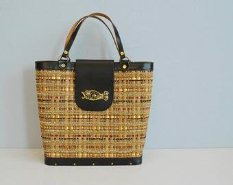 Vintage Enid Collins Handbag / Textured Wood Metallic Purse Shoulder Bag with Fish Clasp / Collins of Texas